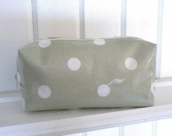 Pale green polka dot, spotty. Oilcloth Makeup Bag.