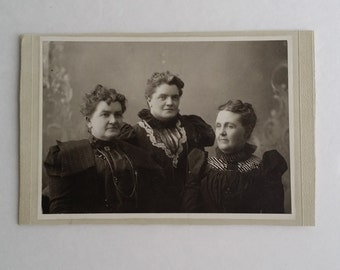 Antique Collectible Three Ladies Wearing Late Victorian Fashion Dress Photograph