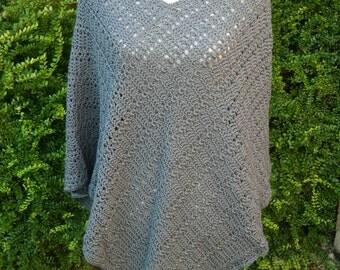 Crocheted Poncho in Slate Grey