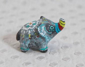 SALE!!!  Lucky elephant. Animal totem - Polymer clay animal OOAK figurine, talisman, amulet
