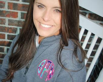 Monogram pullover quarter zip sweatshirt