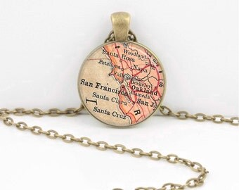 Vintage Map San Francisco Bay Area California Antique Map Geography Gift  Pendant Necklace or Key Ring