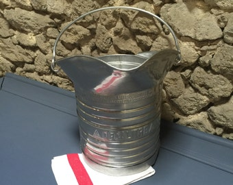 Rare 10L French Vintage Stainless Steel Milk Bucket