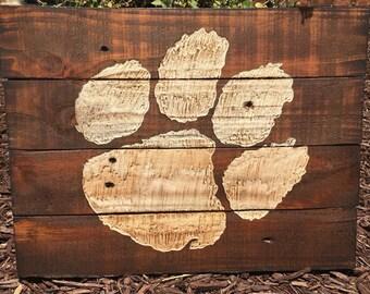 Clemson Tiger Paw Pallet Wood Art Reclaimed Wood Sign Pallet Decor