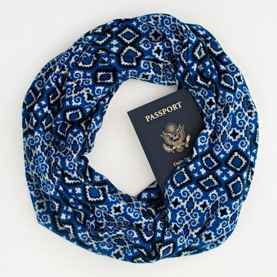 Tuileries blue scarf w hidden pocket travel hidden pocket for Travel scarf