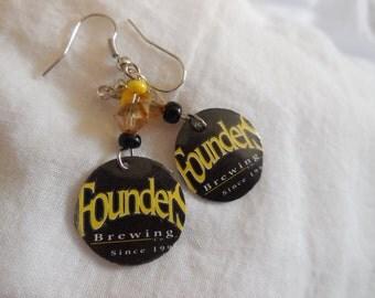 Founders Beer Cap Earrings