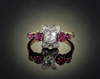 Genuine Edwardian natural ruby and diamond elegant solitaire five stone flower ring