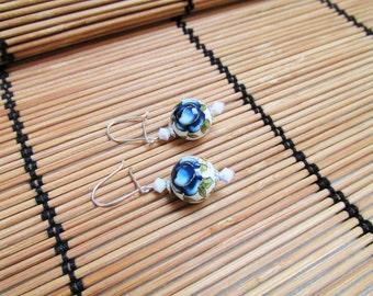Handpainted Japanese Tensha Bead Earrings, Sterling Silver Earrings, Blue Rose Earrings, Swarovski and Tensha bead Earrings