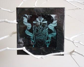 """Linocut """"Mexican Skull"""", linocut, skull, skull, calavera, sugar skull, dia de los muertos, day of the dead, turquoise, black"""