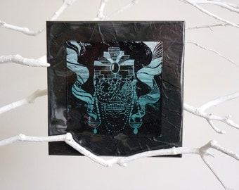 "Linogravure ""Mexican Skull"", linogravure, tête de mort, crâne, calavera, sugar skull, dia de los muertos, jour des morts, turquoise, noir"