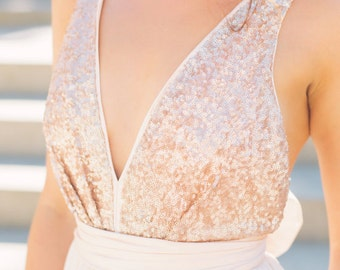 Christina's Bridesmaids - rose gold sequin plunging top with blush chiffon skirt, and blush colored waistband and bow