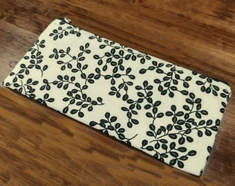 Hand printed Pencil pouch, Zipper pouch, Cosmetic pouch, Light weight cotton fabric #15