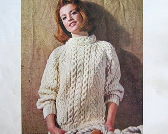 Big BERNAT BOOK of Irish Knits - 15 Knitting Patterns in Aran Fisherman Cable Designs for Sweater Dress Accessories Cardigan Hat Pullover
