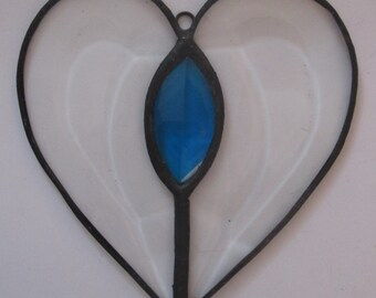 Stained Glass Heart Suncatcher with Faceted Jewel