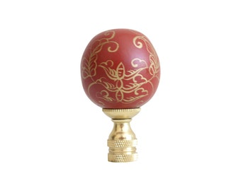 Beautiful Red and Gold Lacquer Round Ball Lamp Finial