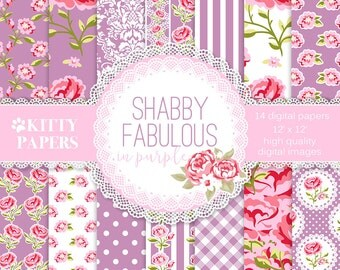 "Floral digital paper : ""Shabby Fabulous in Purple"" purple digital paper, purple floral paper, purple wedding paper, pink roses, shabby chic"