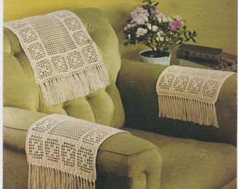 Vintage PDF Crochet Pattern Chairback U0026 Arm Covers Anti Macassa Fringed