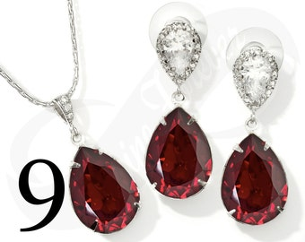 Set of 9 Bridesmaid Jewelry Set Bridesmaid Ruby Jewelry Set Bridesmaid Red Jewelry Set Bridal Jewelry Bridal Set Bridesmaid Gift