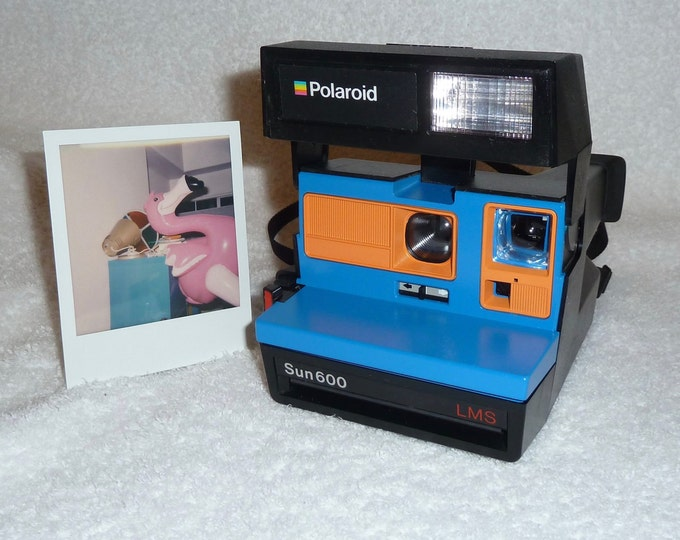 Upcycled Blue and Orange Polaroid Sun 600 - Cleaned and Tested