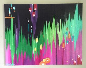 "Original abstract painting by Rita Ortloff 18""x24""x .5"" - ""Purple Rain"""