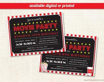 Movie Party Birthday Invitations - Movie Night Invitations - Digital or Printed
