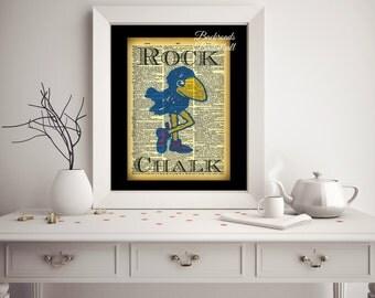 Rock Chalk Jayhawk dictionary print fine art home decor wall art photo print