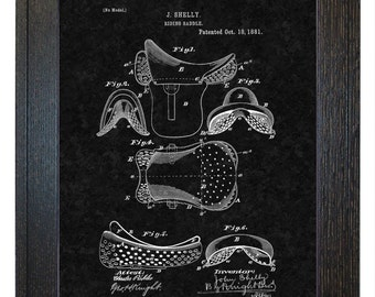 Framed Patent Print - Riding Saddle WITH Real Rustic Wood Frame - Framed Patent Art