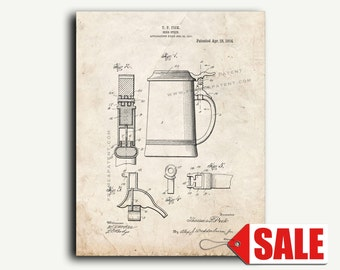 Patent Print - Beer-stein Patent Wall Art Poster