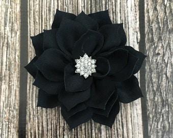 Black hair clip, flower girl hair clip, rhinestone hair clip, flower hair clip, alligator clip, wedding clip