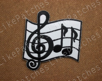 Sew / Iron On  Patch Harnessing Music Notation Embroidered Applique Size 6.7x7cm.