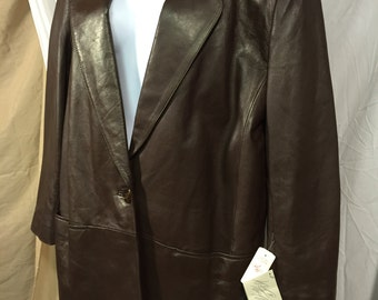 Lord & Taylor lined Leather Coat Lambs Nappa sz 12 Brown