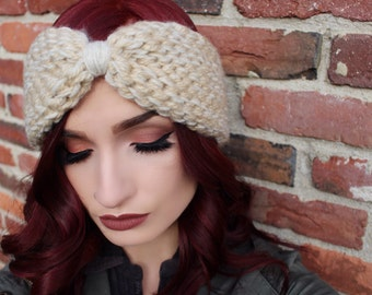 Winter headwrap headband - Ivory, light tan