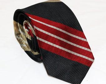 50s Carini Necktie - All Silk - 1950s Tie - Skinny Tie - Mod Red Gold Metallic Mens Accessories - Swing Dancing Mad Men Costume