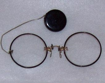 Prince Nez - Eyeglasses, Spectacles, Antique, 1910, Bifocals, Vintage, Costume,Style