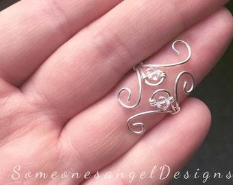 Midi Ring, Sterling Silver Ring, Full Finger Ring, Wire Ring, Knuckle Ring, Silver Knuckle Ring, Silver Knuckle Ring, Silver Wire Ring