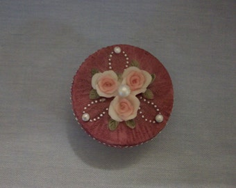 Dezine Roses and Faux Pearls Hand Painted Trinket Box