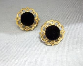 Sale***Avon Black Velvet and Goldtone Pierced Earrings, Avon, Vintage Earrings, Avon Earrings