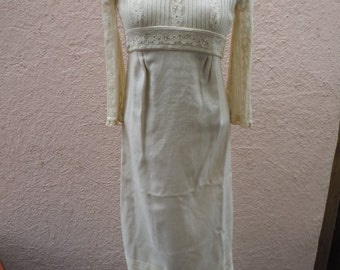 """Cool Off-White 1960s Linen Dress ** Bust: up to 35"""""""