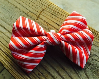 Holiday candy cane christmas slide on dog collar bow
