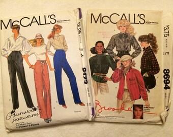 Set of 2, 1980s McCall's patterns # 8173 pants & 8694 Brooke Shields Shirts, Uncut
