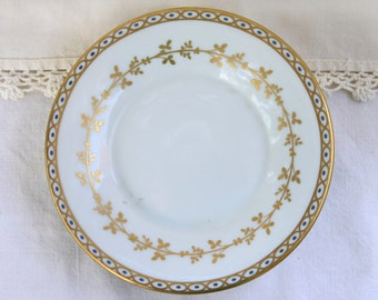 Small Italian Made Richard Ginori Plate, Ornate plate/saucer, Gold Accents