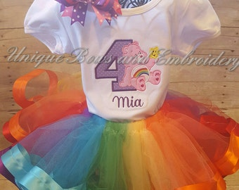 Care Bear Inspired Birthday Tutu Set  ~ Personalized Birthday Outfit ~ Personalized Birthday Tutu Set ~ Care Bear birthday shirt~