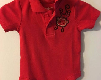 Onesie/Red/6-9Month/with collar/and cute Monkey Embroidery