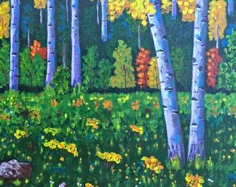 Aspen Trees,Birch Tree Painting, Aspens Art, Original Acrylic Painting, Gift Idea, 11x14in, MelidasArt