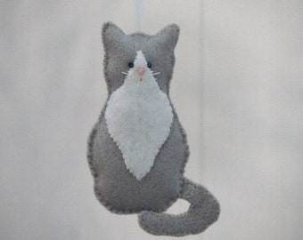 Tuxedo Cat Felt Ornament Gray & White Kitten Felt Animal Ornaments (1 ornament)