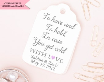 To have and to hold in case you get cold tags (30) - Pashmina tags - Wedding pashmina tags - Winter wedding favors - Wedding favor tags