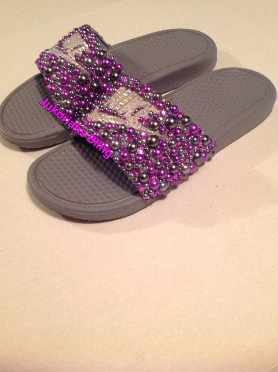 info for cffc0 3ce75 Bling nike slides nike shoes accessories by Jukoriahsbling on Etsy best