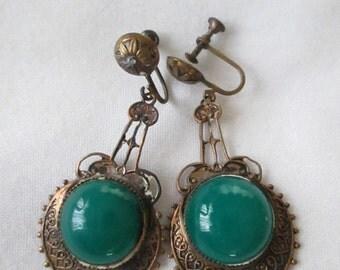 Victorian Chandelier Brass Jade Screw Back Earrings