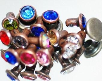 Antique Copper Crystal Rivets-5mm Crystal Rivets-Leather & Metal Rivets- 20pk