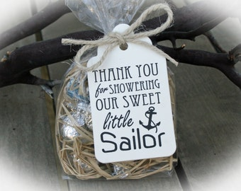 Nautical Baby Shower favor -25 DIY Bags/ Ivory Favor Tags w/Ribbon-Candy Favors - Anchor Baby Shower - Little Sailor Baby Shower-Ivory Tags